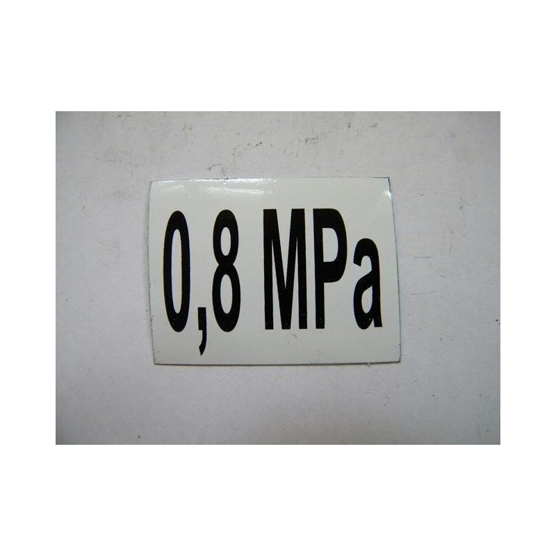 Ciśnienie opon 0,8 Mpa (naklejka)
